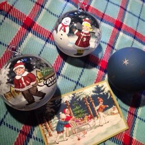 ピータープリース手工芸社 クリスマスガラスオーナメント  サンタガールとスノーマン