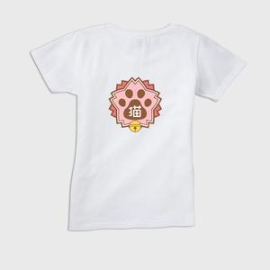 レディースTシャツ(背面プリント) 【にゃんこ学園校章】