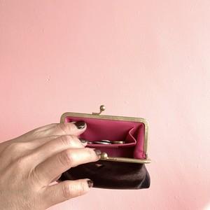 mini   WAVE ウォレット/がまぐち財布 ブラック×ピンク
