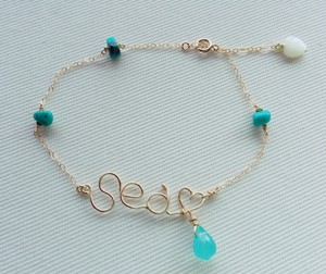 14kgf sea♡wire turquoise Anklet