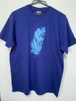 フェザーTシャツ(インディゴ×アクアブルー)