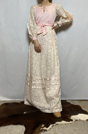 flowered pattern lace maxi one-piece