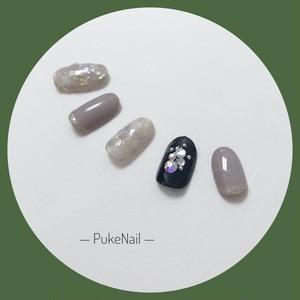 Pukeネイル [No.161] 薄いモカ色・ホオールシー❁ キラキラ・仕事 /出かけ/パーティー♡ジェイルネイルチップ
