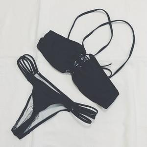 Bikini♡ブラックフロントレースアップビキニ GSB18S063BLK