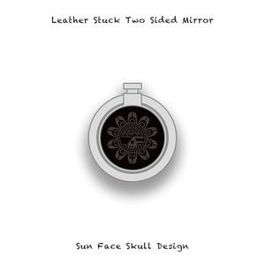 Leather Stuck Smartphone Ring / Sun Face Skull Design 004