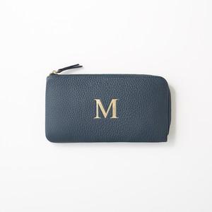 Initial Long L Zip Wallet  Premium Shrink Leather