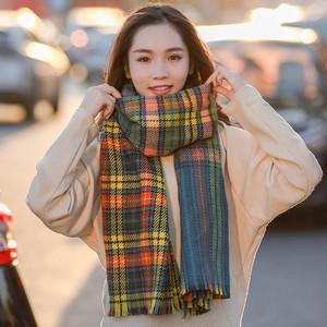 【小物】チェック柄レトロ両側に着用スカーフ