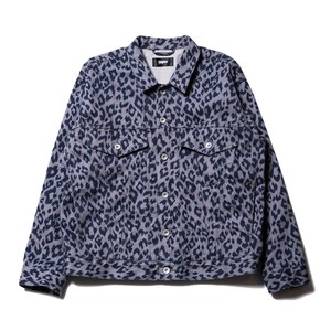 Leopard denim jacket / GRAY