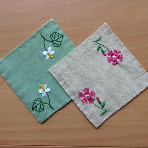 コースター 野の花刺繍【送料込】