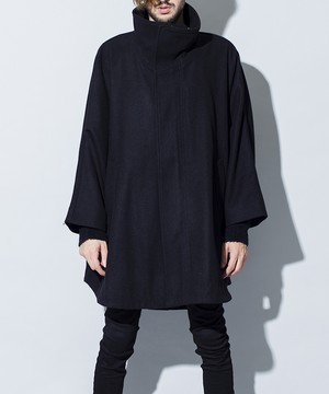 Fly-Front High Collar Poncho Black