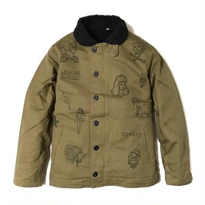 "DUCKTAIL CLOTHING N-1 DECK JACKET ""LAUGH AND ""GLOW"" FAT"" KHAKI ダックテイル クロージング N-1 デッキジャケット"