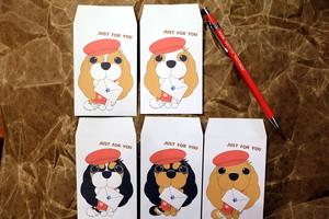 キャバリア ぽち袋 ベレー帽(白) 5枚入り(5種)