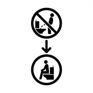 洋式トイレに座って使用をお願いするカッティングステッカー・シール 光沢タイプ・耐水・屋外耐候3~4年