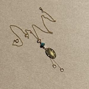2種の天然石と楕円の3-wayアクセサリー(ネックレス,ピアス/イヤリング,チャーム)
