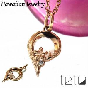 【HawaiianJewelry / ハワイアンジュエリー】 ハートネックレス/ペンダント プルメリア ホヌ キュービックジルコニア