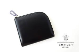 エッティンガー|ETTINGER|ブライドルレザーLジップマルチウォレット|ブラック×パープル