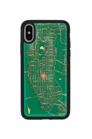 FLASH NY回路地図 iPhoneX/XSケース 緑【東京回路線図A5クリアファイルをプレゼント】