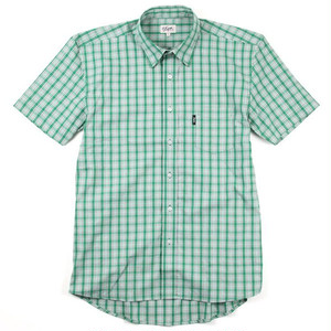 DQM REGULAR SMOKE S/S CHECK COTTON SHIRT GREEN