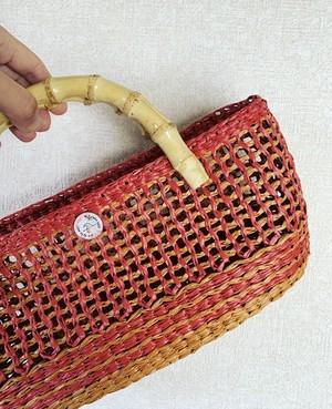【受注制作】 送料無料 カゴ編み風編みつけバンブーバッグ
