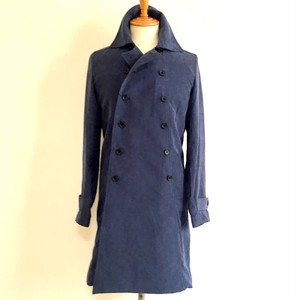 P-Suede Double Breast Coat Navy