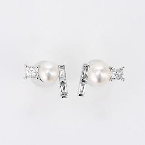 Twinkling stars K18WG Pearl Diamond Pierce (パール ダイヤモンド ピアス)