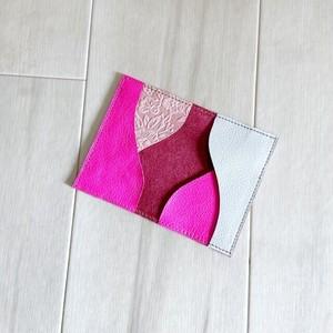 カードケース 本革 名刺入れ パスケース 蛍光 ピンク