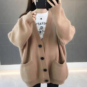 【アウター】シンプル感じカジュアル厚くて長袖無地女性らしいファッションニットカーディガン24137336