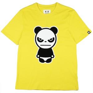 【HIPANDA 】メンズ Tシャツ【NEW】MEN'S  FLOCKY PRINT SHORT SLEEVED T-SHIRT / YELLOW