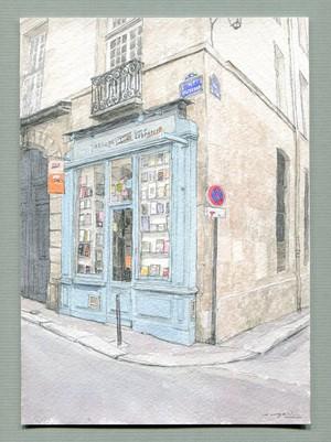『水彩画:Paris, 書店(6区)』