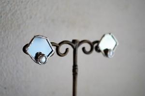 鏡+淡水パール♢*Hexagon*ピアス