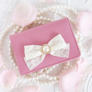 パールリボン本革カードケース/ピンク