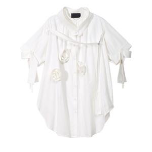 RIMI&Co. SELECT オーバーサイズ デコレーションシャツ ホワイト