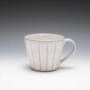 面取カフェオレカップ(白萩釉)