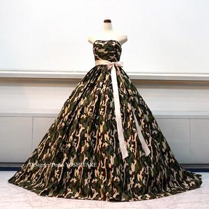 迷彩柄シンプルカラーウエディングドレス(パニエ付)披露宴.結婚式二次会パーティー