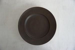 松田靖代 リム皿 7寸 茶
