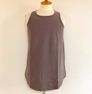 Long Length Tank Top(Spandex Cotton Jersey)【round model】 Charcoal