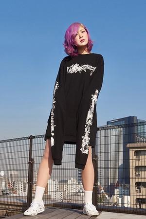 DJ後藤まりこ ながなが袖Tシャツ(Black)