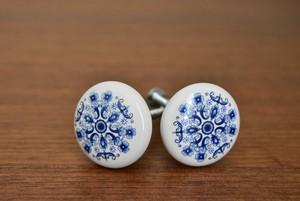 陶器製つまみ 花柄ブルー