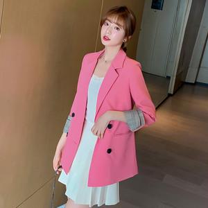 9606ビジネスジャケット レディース  テーラードジャケット コート スーツ カジュアル ゆったり 無地 ピンク
