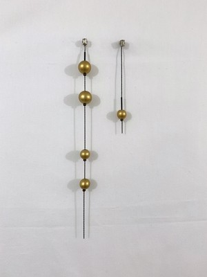 wood balls of gold color earrings