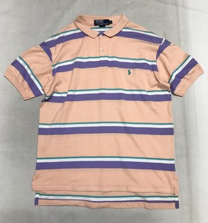 Polo Ralph Lauren ポロシャツ L ピンクボーダー MADE IN USA