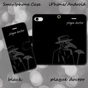 plague doctor【ブラック】 手帳型スマホケース iPhone/Android