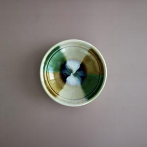 瀬戸本業窯 折縁三彩鉢(ぬり分け)緑茶白 <日本製・瀬戸>