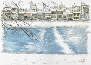 「水彩画ミニアート」京都 雪の鴨川