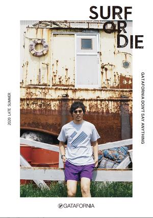 【完全受注】SURF OR DIE S/S GATAFRONIA Tシャツ  グレー×ブルー