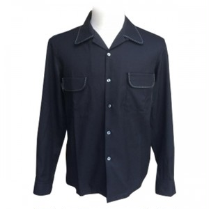 "Addiction KUSTOM THE LIFE OPEN COLLAR SHIRTS ""OPEN GABARDINE L/S SHIRT"" BLACK アディクション ハンドステッチ オープンカラー シャツ"
