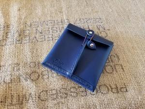 薄い財布・革封筒ハーフ 革:青