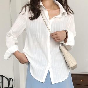 【トップス】韓流ファッションchicシングルブレスト無地シャツ