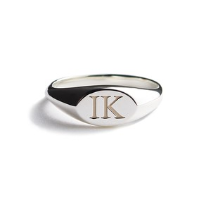 Ellipse polished silver ring (Initial)