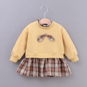 【子供服】チェック柄リボン付きコットン子供服女の子ワンピース23282527